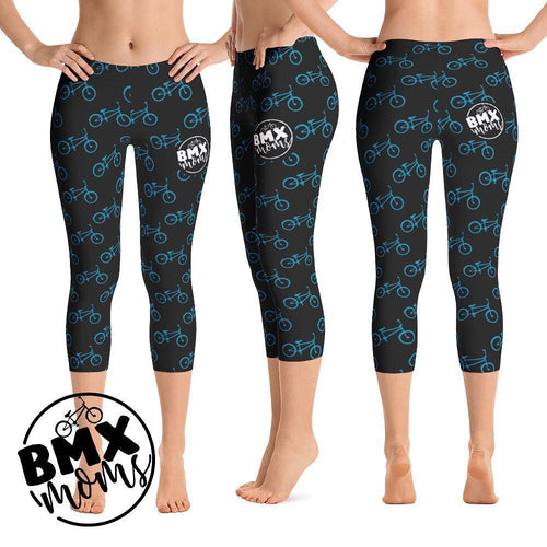 BMX Mom Blue Bike Capri Leggings