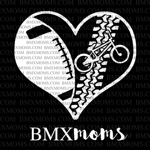 Football and BMX Mom Heart Car Decal