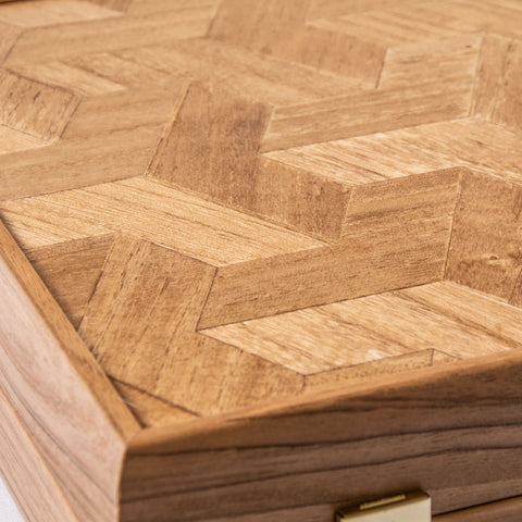 MARQUETRY CUBE WOOD ILLUSION Backgammon (with olive wood checkers) - Manopoulos