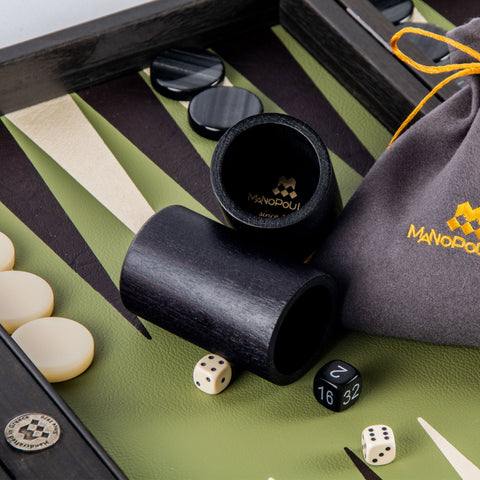 OLIVE GREEN Backgammon - Manopoulos