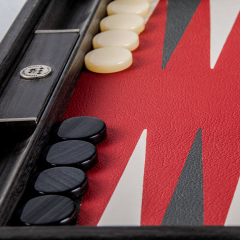 BURGUNDY RED Backgammon - Manopoulos