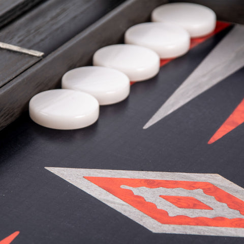 BLACK OAK with SILVER STRIPES Backgammon - Manopoulos