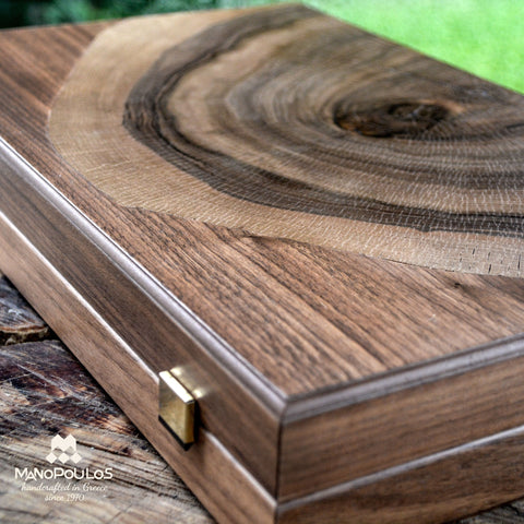 WALNUT NATURAL TREE TRUNK Backgammon - Manopoulos