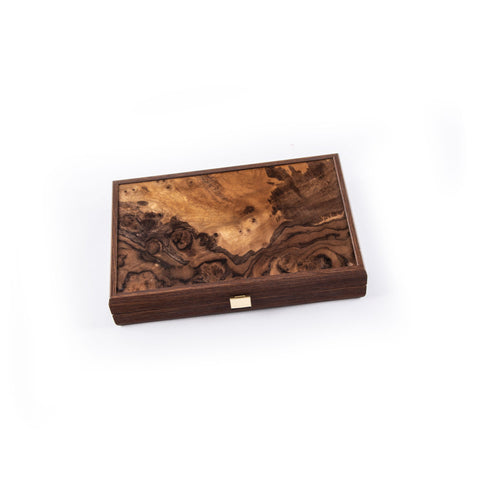NATURAL BURL with PEARL ELEMENTS Backgammon (Small size) - Manopoulos