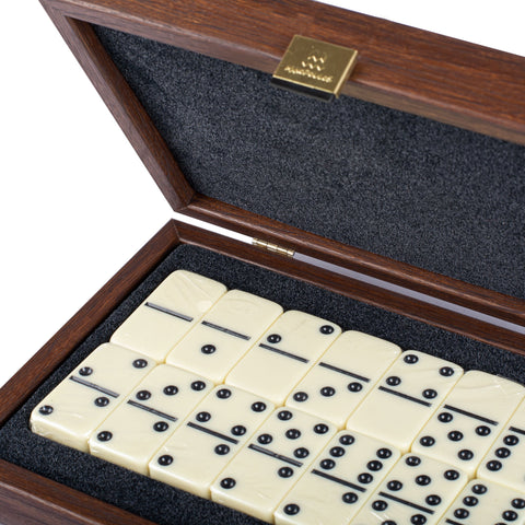 DOMINO SET in Caramel colour Leatherette wooden case - Manopoulos