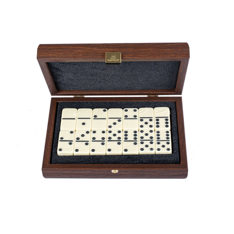 DOMINO SET in Brown Leather Ostrich tote wooden case - Manopoulos