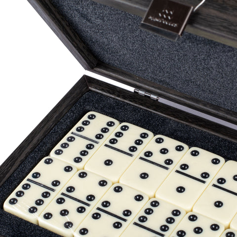 DOMINO SET in Dark grey Leather Croc tote wooden case - Manopoulos