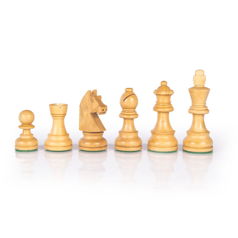 ΞΥΛΙΝΑ ΠΙΟΝΙΑ ΣΚΑΛΙΣΤΑ ΓΙΑ ΣΚΑΚΙ /STAUNTON WOODEN WEIGHTED CHESSMEN - King's Height 9.5cm - Manopoulos