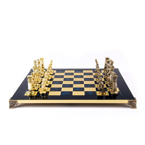 GREEK ROMAN PERIOD CHESS SET with gold/brown chessmen and bronze chessboard 44 x 44cm (Large) - Manopoulos