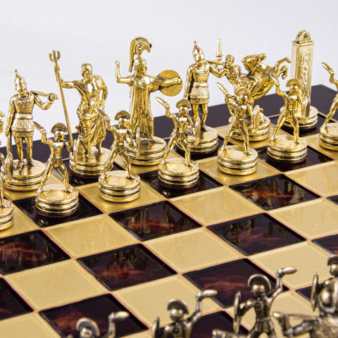 GREEK MYTHOLOGY CHESS SET with gold/brown chessmen and bronze chessboard 36 x 36cm (Medium) - Manopoulos