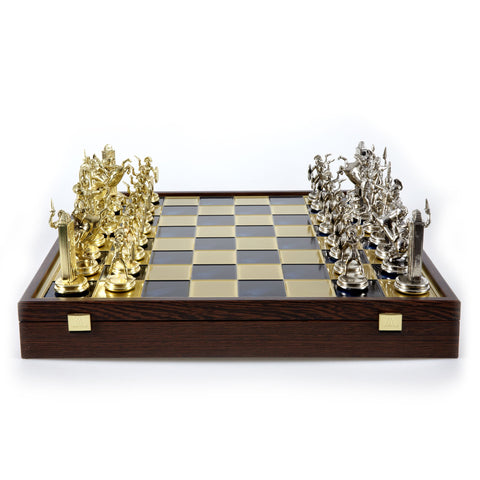GREEK MYTHOLOGY CHESS SET in wooden box with gold/silver chessmen and bronze chessboard 48 x 48cm (Extra Large) - Manopoulos