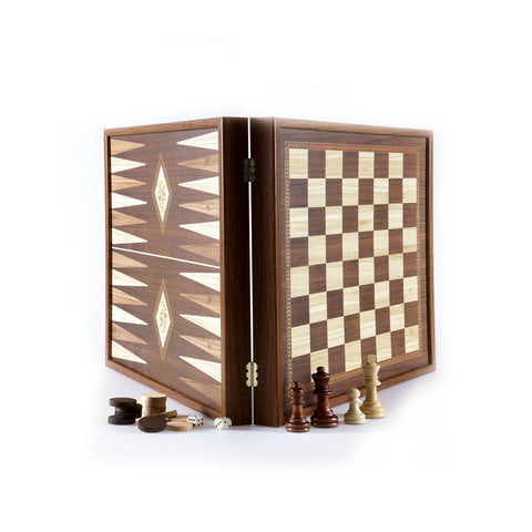 CLASSIC STYLE - 2 in 1 Combo Game - Chess / Backgammon (Small) - Manopoulos