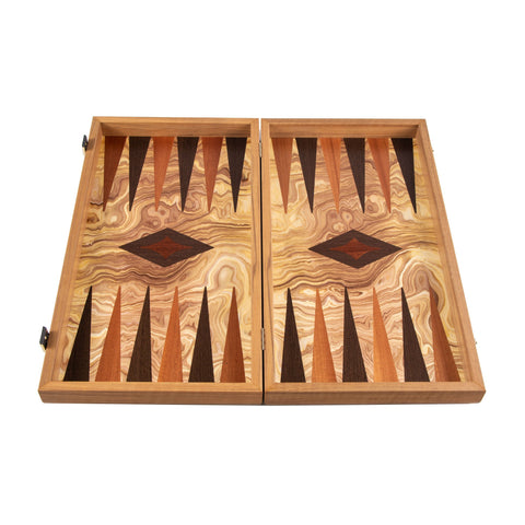 OLIVE BURL (olive wood checkers) Backgammon - Manopoulos