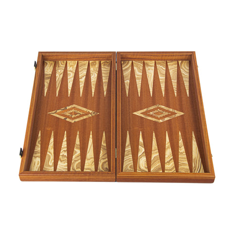 ΤΑΒΛΙ ΜΑΟΝΙ ΜΕ ΕΛΙΑ/MAHOGANY & OLIVE WOOD Backgammon - Manopoulos