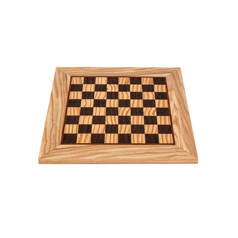 OLIVE WOOD & WENGE INLAID handcrafted chessboard 34x34cm (Small) - Manopoulos