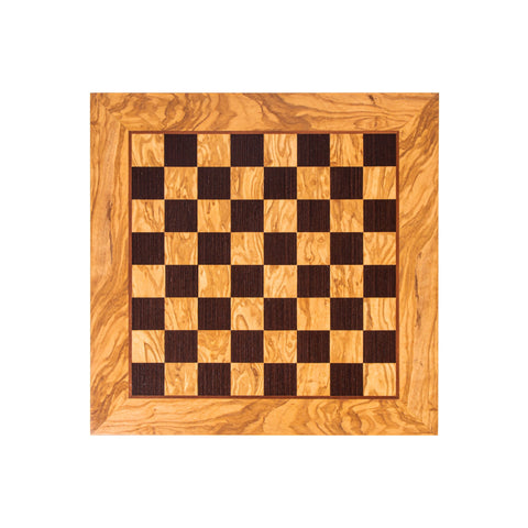 OLIVE WOOD & WENGE INLAID handcrafted chessboard 40x40cm (Medium) - Manopoulos