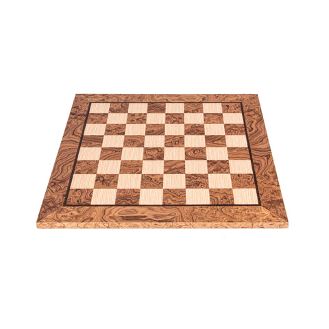 WANLUT BURL & OAK INLAID handcrafted chessboard 40x40cm (Medium) - Manopoulos