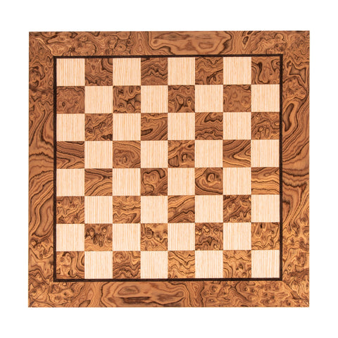 WANLUT BURL & OAK INLAID handcrafted chessboard 50x50cm (Large) - Manopoulos