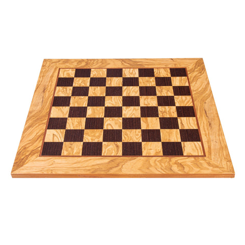 OLIVE WOOD & WENGE INLAID handcrafted chessboard 50x50cm (Large) - Manopoulos
