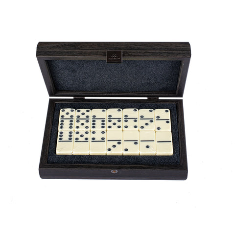 DOMINO SET in Dark Grey colour Leatherette wooden case - Manopoulos