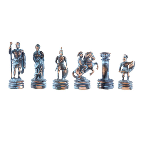 GREEK ROMAN PERIOD Chessmen (Small) - Blue/Brown - Manopoulos
