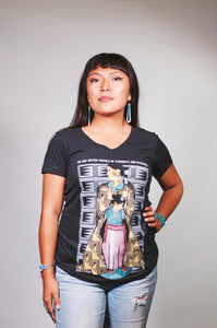 Grownup Navajo (Women's Black V-Neck)