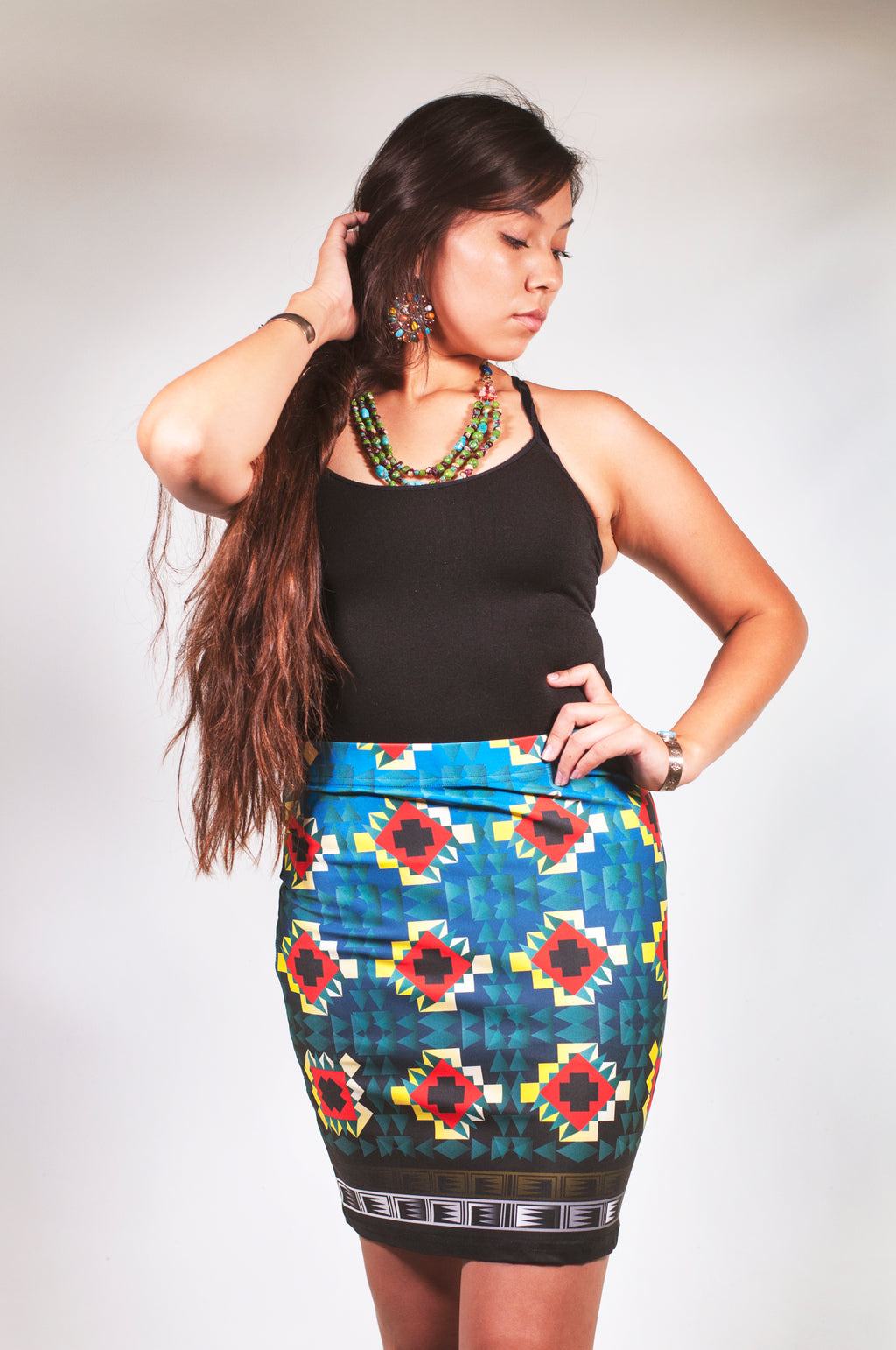 Jagged Steps Pencil Skirt
