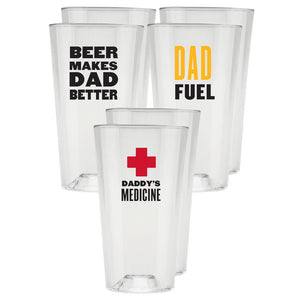 The Perfect Pint® - Limited Edition Funny for Father's Day - 6 Pack - USA Made, BPA-Free, Unbreakable & Dishwasher Safe