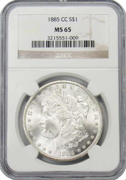 1885 CC Morgan Silver Dollar NGC MS65