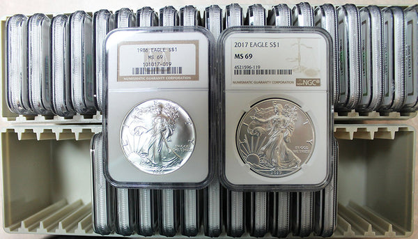 1986-2017 American Silver Eagle 32 Coin Lot NGC MS69