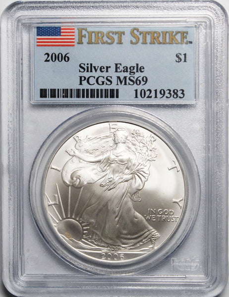 2006 $1 American Silver Eagle PCGS MS69 First Strike