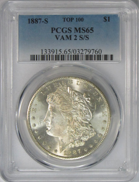 1887 S $1 Morgan Silver Dollar PCGS MS65 VAM 2 S/S