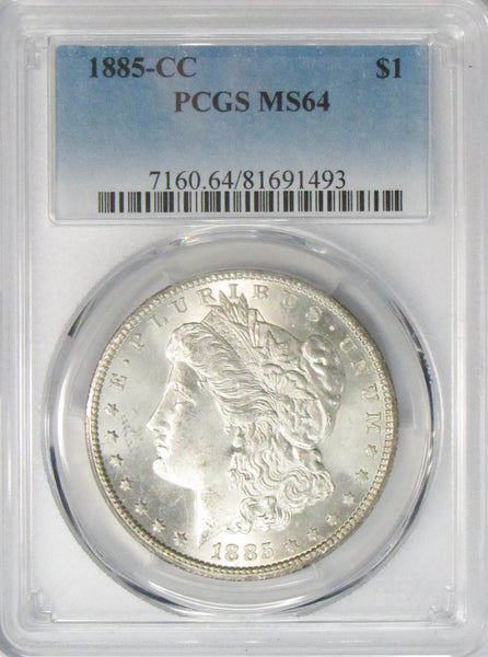 1885 CC $1 Morgan Silver Dollar PCGS MS64