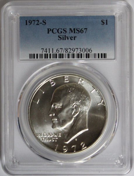 1972-S $1 Eisenhower Silver Ike Dollar PCGS MS67