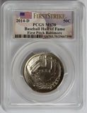 2014-D 50C Baseball Hall of Fame First Pitch Baltimore MS70 PCGS