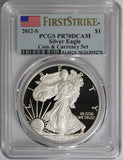 2012-S $1 Silver Eagle Coin & Currency Set First Strike PR70DCAM PCGS