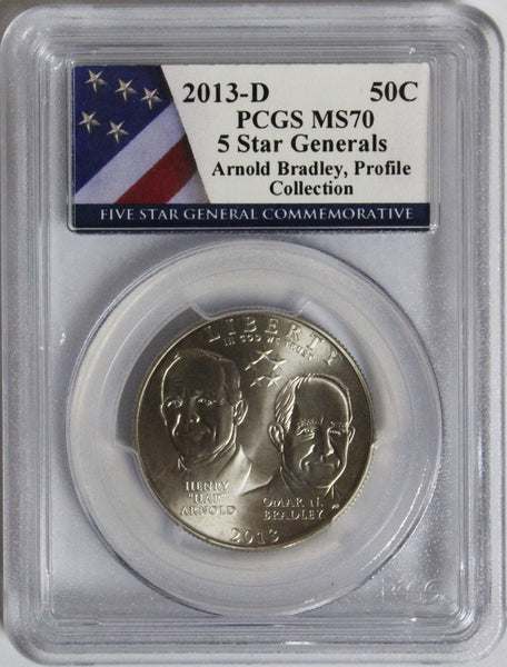 2013-D 50C 5 Star Generals Arnold Bradley, Profile Collection Commemorative MS70 PCG