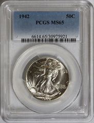 1942 50C Walking Liberty Half Dollar PCGS MS65