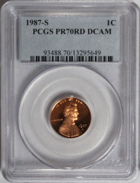 1987-S Lincoln cent PCGS PR70RD DCAM