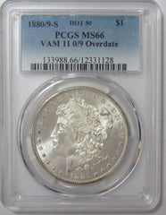 1880/9-S Morgan Silver Dollar Vam 11 0/9 Overdate PCGS MS66 Hot 50