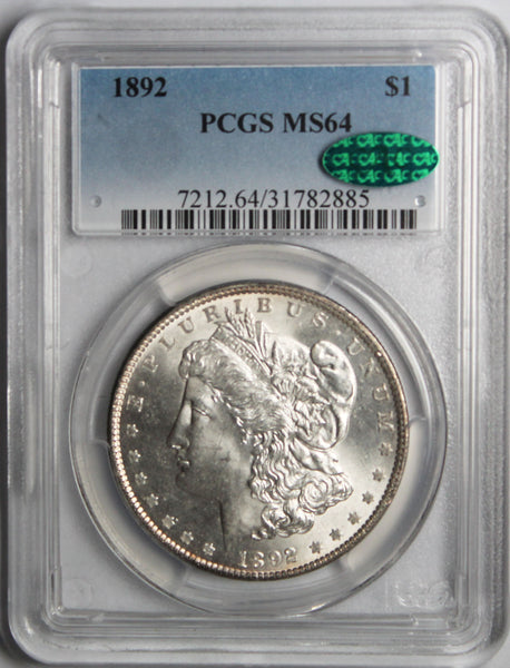 1892 $1 Morgan Silver Dollar MS64 PCGS CAC Approved