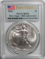 2016 $1 American Silver Eagle PCGS MS70 First Strike 30th Anniversary
