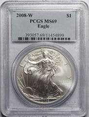 2008 W Burnished American Silver Eagle PCGS MS69