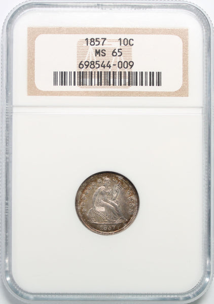 1857 10C Seated Liberty Dime NGC MS65