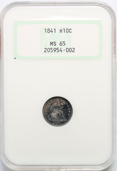 1841 H10C Seated Half Dime NGC MS65