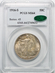 1916-S Walking Liberty Half Dollar PCGS MS64 CAC Approved