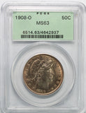 1908-O Barber Half Dollar PCGS MS63
