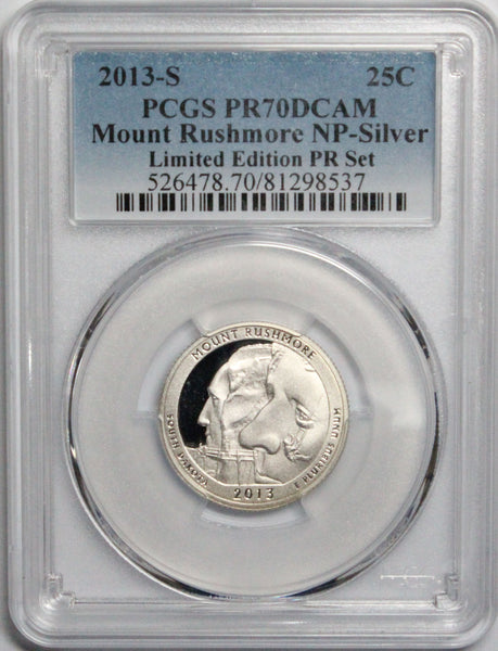 2013 S 25C Mount Rushmore NP Silver Quarter PCGS PR70DCAM Limited Edition Proof Set