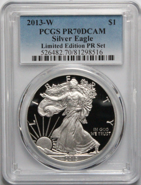 2013 W $1 American Silver Eagle PCGS PR70DCAM Limited Edition Proof Set