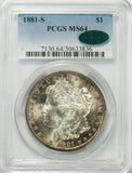 1881 S $1 Morgan Silver Dollar PCGS MS64 CAC - GORGEOUS NATURAL TONING!